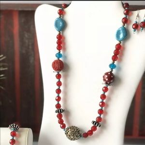 Jewelry - Cherry Bead Necklace Set Artisan Faux Turquoise X